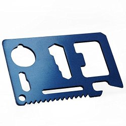 Blue Multipurpose Pocket Survival Tool Mini Multi-Function Tool Card Can Opener New