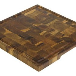 """14"""" Acacia End Grain Square Cutting Board W/ Juice Groove By Mountain Woods"""