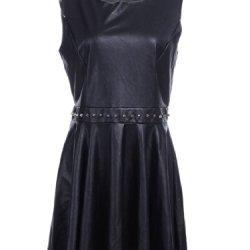 Anna-Kaci S/M Fit Black Faux Leather Knife Pleat Spike Embellished Waist Dress