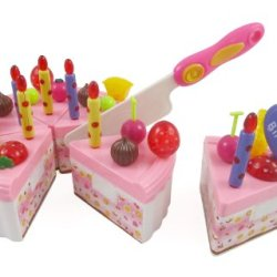 Birthday Cake Play Food Set For Kids With Cutting Knife, Candles & Toppers