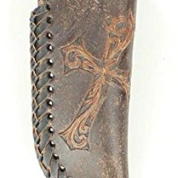 Nocona Men'S Diagonal Embossed Cross Distressed Leather Knife Sheath Brown One Size