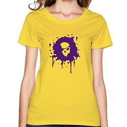 Skull Street Art Fashion Girlfriend T-Shirt Medium Yellow