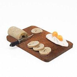 1:12 Breakfast Bread Egg Flour Cake Knife Chopping Block Set Kitchen Miniature