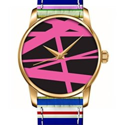 Ouo Special Unique Watch Gift With Design Of Pink Lines In Brown Analog Quatz Movement Gold Round Face Unisex Watches Fashion