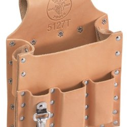 Klein Tools 5127T Leather 6-Pocket Tool Pouch With Tunnel Loop