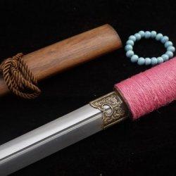 Tang Jian Sword Sale/Full Tang/Handmade/Folding Steel Blade/Acid-Wood Scabbard
