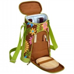 Picnic At Ascot 398-F Two Bottle Carrier And Cheese Set - Floral
