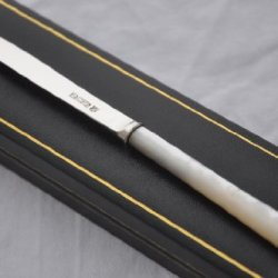 Perfect Mother Of Pearl & Sterling Silver Bladed Letter Opener Sheffield 1916