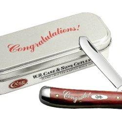 Case Cutlery 08749 Case Mini Trapper Congratulations Knife, Old Red Bone