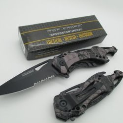 Tac-Force Assisted Opening Linerlock Belt Clip Grey Camo Design A/O Speed Rescue Glass Breaker Knife