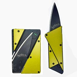 Credit Card Knife Cardsharp 3, Stainless Steel Cover, Folds For Easy Concealment And Safety Has High Quality Surgical Sharp Black Folding Blade And Is Easy To Carry In Wallet Or Purse Same Size As A Credit Card, Many Colors (Yellow)