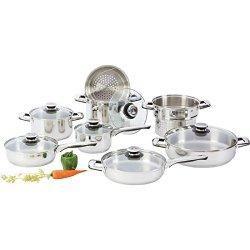 New 14 Pc Stainless Steel Kitchen Cookware Set Heavy Gauge Pots Pans Glass Lids