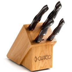 """Model 1809 Studio Set With Honey Solid Oak Block. 4 High Carbon Stainless Knives With Classic Dark Brown Handle (Often Called """"Black"""") ............................ Set Includes 1720 Paring Knife, 1721 Trimmer, 1729 Petite Carver, 1768 Spatula Spreader, An"""