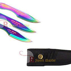Swordmaster - Set Of 3 Multi Color Jack Ripper Thrower Throwing Knives With Sheath Brand New