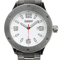 Zippo Work Watch With White Dial And Solid Stainless Steel Band, Chrome