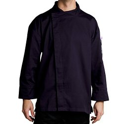 Chef Revival J113Ept-M Poly-Cotton Knife And Steel 3/4 Sleeve Chef Jacket With Hidden Snaps, Medium, Eggplant