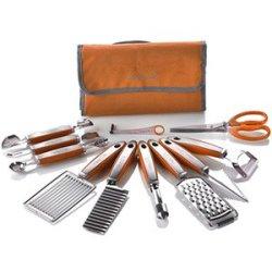 New Wolfgang Puck 12 Pc Garnish Essentials Set With Storage Case (Orange)