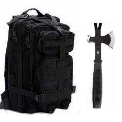 """Ultimate Arms Gear Surviaval Combo: 13"""" Tactical 3 In 1 Mulit-Use Emergency Supply Tool Chop Hatchet Axe + Flat Head Hammer + Wrecking Ripping Pry Bar With Rubberized Grip Handle + Stealth Black Compact Level 3 Full Featured Assault Pack Backpack 3 Day Bu"""