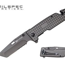 Milspec Tactical Pml12 8.75-Inch Titanium Spring Assist Pocket Knife With Cord Cutter And Glass Breaker