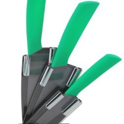 Melange 4-Piece Green Handle Black Blade Ceramic Knife Set With 5-Inch Santoku Knife