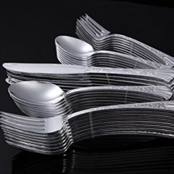 Home Value Heavyweight Silver Cutlery Set, 200 Count, 40/Package, Silver, Includes 40 Soup Spoons, 40 Forks, 40 Knives, 40 Cocktail Forks, 40 Teaspoons