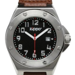Zippo Casual Watch With Black Dial/Brown Leather Strap And Brushed Chrome Buckle
