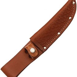 Sheath Fixed Knife Sheath, Brown Basketweave Leather,Fits Up To 5In Blade Sh1134/ Sh208 Brown