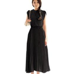 Knife Pleat Cap Sleeve Maxi Chiffon Long Dress (M, Black)