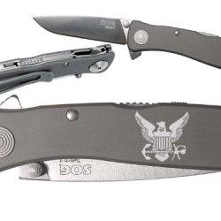 Navy Bird Crest Emblem Logo Custom Engraved Sog Twitch Ii Twi-8 Assisted Folding Pocket Knife By Ndz Performance