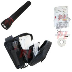Emt Universal First Aid Kit Ifak Flashlight Band Aids Pencil Emergency Kit-Black