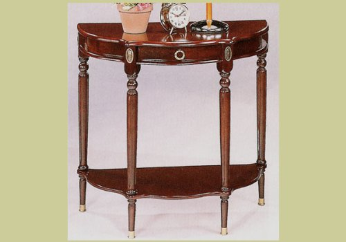 Image of Cherry Finish Crescent Sofa Console Entry Side Table (B0012LHMMK)