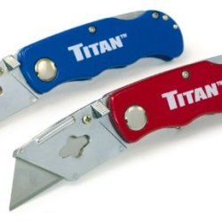 Titan 11020 Folding Pocket Utility Knife (Twin Pack - Red/Blue)