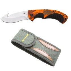 Sarge Knives Sk-909Hv Hi-Vis Folding Gut Hook Knife With 3-1/2-Inch Stainless Blade, Bead-Blast Finish