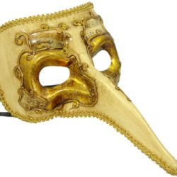 Decor Paper-Mache Ornate Long Noses Masquerade Mask - Gold