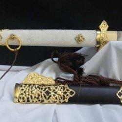 Damascus Steel Handmade Blade Wood Scabbard Hollow Tang Dao Sword Sale Full Tang