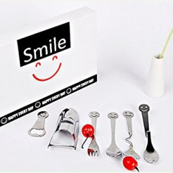 Stainless Steel Smiling Face Tableware Stainless Steel Cutlery Set Smiling Face Set Cutlery Of 6 Pieces Different Shape