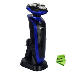 Ckeyin Rechargeable Waterproof Washable Men'S Electric 3D Electric Strong Shaver Razor, 3 Heads