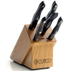 Cutco Model 1845 Essentials Set ............4 High Carbon Stainless Knives And 1 Fork In Factory-Sealed Plastic Bags............#1649 Honey Oak Knife Block And 8'' X 12'' Poly Prep Cutting Board Also Included.