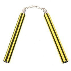 Playwell Foam Rubber Safety Training Nunchucks - Yellowblack Stripes Chain