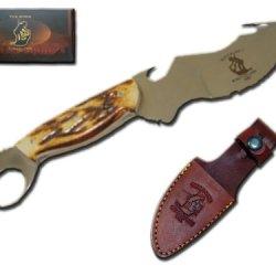 New Fixed Blade Hunting Knife W Sheath & Bone Handle