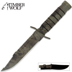 Timber Wolf® Camo Jungle Survivor Knife With Sheat