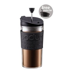 Bodum Travel Press Set - Coffee Maker With Extra Lid 0.35L (12Oz) Black