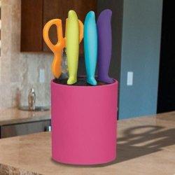 New Farberware Multi Colored 5 Piece Knife Set Universal Storage Block