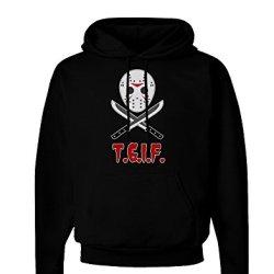 Scary Mask With Machete - Tgif Dark Hoodie Sweatshirt - Black - 2Xl