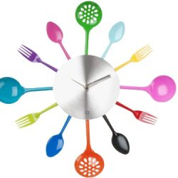 Present Time Silverware Utensils Wall Clock, Multicolored Iron
