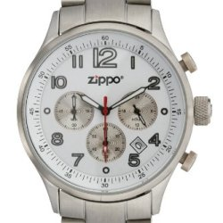 Zippo Sports Watch With Chronograph/White Dial And Solid Stainless Steel Band, Chrome