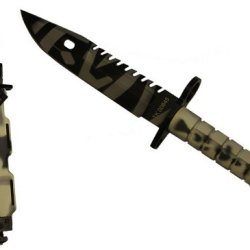 Ultimate Arms Gear Tactical Limited Edition Urban / Snow Camo Camouflage Special Forces Series M9 M-9 Military Sawback Survival Tigerstripe Tiger Stripe Blade Bayonet Knife With Tactical Sheath Scabbard