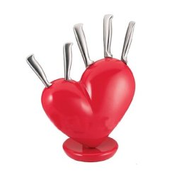 1 Set Kitchen Heart Knife Set Broken Heart Knife Block Set Red Heart Knife Holder.