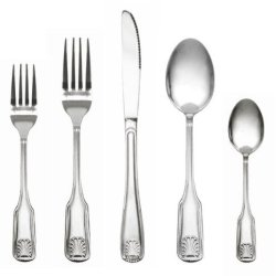 Royal Collection Stainless Steel Flatware Set, 60 Piece - Service For 12, Classic Shell Design
