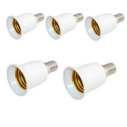 5Pcs E14-E27 Base Screw Led Cfl Light Bulb Lamp Holder Adapter Socket Converter
